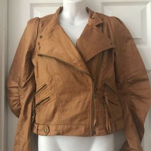 ANTHROPOLOGIE RYU Faux Leather Crop Jacket M